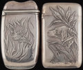 Silver Smalls:Match Safes, TWO WHITING SILVER MATCH SAFES, New York, New York, circa 1890.Marks to both: (W-griffin), STERLING, 1540H; 1675x. 2-1/...(Total: 2 Items)