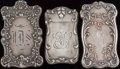 Silver Smalls:Match Safes, THREE GORHAM SILVER MATCH SAFES, Providence, Rhode Island, circa1897. Marks to all: (lion-anchor-G), STERLING, (date ma...(Total: 3 Items)