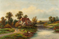 Fine Art - Painting, European:Modern  (1900 1949)  , WILLIAM P. CARTWRIGHT (British, 1855-1915). Riverside Cottagewith Milkmaid and Cows, 1905. Oil on canvas. 14 x 21 inche...