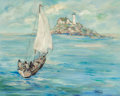 Fine Art - Painting, European:Contemporary   (1950 to present)  , GIRARD (French, 20th Century). Scene with Sailboat, 1969.Oil on canvas. 24 x 30 inches (61.0 x 76.2 cm). Signed lower r...