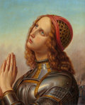 Fine Art - Painting, European:Antique  (Pre 1900), After HERMANN ANTON STILKE (German, 1803-1860). Joan of Arc.Oil on canvas. 17-3/4 x 16 inches (45.1 x 40.6 cm). Signed ...