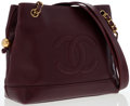 Luxury Accessories:Bags, Chanel Burgundy Caviar Leather Shoulder Bag. ...