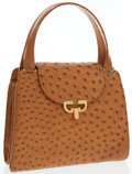 Luxury Accessories:Bags, Gucci Brown Ostrich Tote Bag. ...