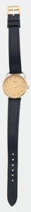 Luxury Accessories:Accessories, Hermes Gold & Stainless Steel Arceau TGM Watch with IndigoCourchevel Strap. ...