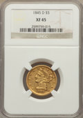 Liberty Half Eagles, 1845-D $5 XF45 NGC. Variety 13-H (formerly 12-I)....