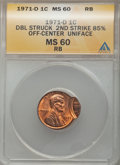 Errors, 1971-D 1C Lincoln Cent -- Double Struck, Second Strike 85% Off Center, Uniface -- MS60 Red and Brown ANACS. This lot also i... (Total: 3 coins)