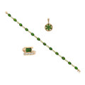 Estate Jewelry:Lots, Peridot, Diamond, Gold Jewelry. ... (Total: 3 Items)