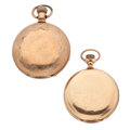 Timepieces:Pocket (post 1900), Waltham & Elgin Hunter's Case Pocket Watches Runners. ...(Total: 2 Items)