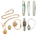 Timepieces:Other , Four Wristwatches, Three Pen Knives & One Locket & Chain. ... (Total: 8 Items)