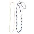 Estate Jewelry:Pearls, Cultured Pearl, Sapphire, White Gold Necklaces. ... (Total: 2Items)