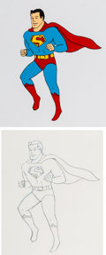 Animation Art:Production Cel, Super Friends Superman Production Cel and Drawing AnimationArt Group (Hanna-Barbera, 1973).... (Total: 2 Original Art)