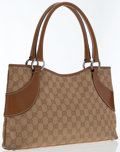 Luxury Accessories:Bags, Gucci Beige Monogram Canvas & Leather Shoulder Bag . ...