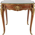 Furniture : French, A LOUIS XV-STYLE MAHOGANY AND KINGWOOD TABLE WITH GILT BRONZEMOUNTS, circa 1890. 30-3/4 x 30 x 23 inches (78.1 x 76.2 x 58....(Total: 2 Items)