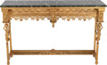 Furniture , A FRENCH EMPIRE-STYLE GILT BRONZE CONSOLE TABLE WITH MARBLE TOP, 19th century. 30 x 47 x 12 inches (76.2 x 119.4 x 30.5 cm)...