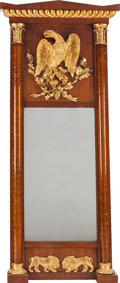 Miscellaneous, A CONTINENTAL NEOCLASSICAL GILT AND FRUITWOOD PIER MIRROR, circa1820. 55 x 24 x 2-3/4 inches (139.7 x 61.0 x 7.0 cm). PRO...