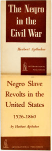 Books:Americana & American History, Herbert Aptheker. Pair of Books about Negroes in the Civil War. NewYork: International Publishers, [various dates]. ... (Total: 2Items)