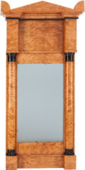 Paintings, A BIEDERMEIER BLOND WOOD PIER MIRROR, circa 1820-1850. 55 x 27-3/4 x 4-3/4 inches (139.7 x 70.5 x 12.1 cm). PROPERTY FROM ...