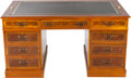 Furniture : American, AN AMERICAN BURL WALNUT AND MAHOGANY PARTNERS DESK, circa 1990.Marks: Just Desks Office Furniture. 31 x 59 x 35-1/2 in...