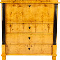 Decorative Arts, Continental:Other , A CONTINENTAL BIEDERMEIER BLOND WOOD AND EBONIZED THREE-DRAWERSECRETAIRE A ABATTANT, circa 1830. Marks: (partial original l...