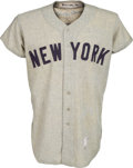 Baseball Collectibles:Balls, 1954 Mickey Mantle Game Worn New York Yankees Jersey, MEARS A9....