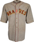 Baseball Collectibles:Uniforms, 1929 Boston Braves Game Worn Jersey with Rare Indian Head Patch....