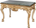 Furniture : Continental, A PAIR OF ITALIAN PAINTED AND PARCEL GILT WOOD TABLES WITH MARBLETOPS, early 19th century. 34-1/2 x 52 x 27 inches (87.6 x ...(Total: 2 Items)