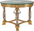 Furniture , A NEOCLASSICAL MALACHITE, GILT AND SILVERED BRONZE TABLE, 20th century. 31-3/8 inches high x 41 inches diameter (79.7 x 104....
