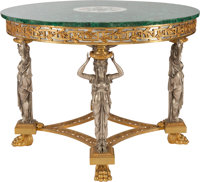A NEOCLASSICAL MALACHITE, GILT AND SILVERED BRONZE TABLE, 20th century 31-3/8 inches high x 41 inches diameter (79