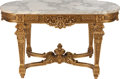 Furniture , A FRENCH RÉGENCE-STYLE MARBLE AND GILT WOOD CENTER TABLE, 20th century. 30 x 52-1/2 x 28-1/2 inches (76.2 x 133.4 x 72.4 cm)... (Total: 2 Items)