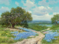 Texas:Early Texas Art - Regionalists, WILLIAM A. SLAUGHTER (American, 1923-2003). Bluebonnet Trails ofTexas. Oil on canvas. 12 x 16 inches (30.5 x 40.6 cm). ...
