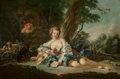 Paintings, School of FRANÇOIS BOUCHER (French, 1703-1770). A Secret Admirer. Oil on canvas. 33-1/2 x 50-1/2 inches (85.1 x 128.3 cm...