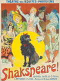 Prints, RENÉ PEAN (French, 1871-1971). Shakspeare, 1899. Color poster. 31-1/2 x 23-1/2 inches (80.0 x 59.7 cm). Signed lower lef...