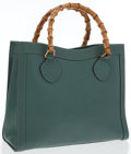 Luxury Accessories:Bags, Gucci Green Leather Tote Bag with Bamboo Handles . ...