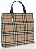 Luxury Accessories:Bags, Burberry Classic Check Tote Bag with Black Leather Trim . ...