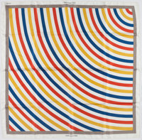 "Louis Vuitton Limited Edition Red, Yellow & Blue ""Undertow,"" by Sol Lewitt Silk Scarf"