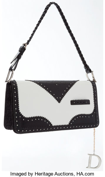 Christian Dior Black   White Leather D-Trick Bag. ... Luxury  083bfdbadfb48