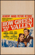 "Movie Posters:Drama, How Green Was My Valley (20th Century Fox, R-1947). Window Card (14"" X 22""). Drama.. ..."