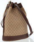 Luxury Accessories:Bags, Gucci Brown Leather & Classic Monogram Canvas Bucket Bag. ...