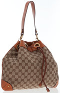 Luxury Accessories:Bags, Gucci Brown Leather & Classic Monogram Canvas Shoulder Bag. ...