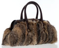 Luxury Accessories:Bags, Gucci Wolf & Brown Leather Tote Bag with Wood Detail. ...