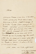 Books:Non-fiction, [Letters]. French Inscribed Letter Written by Playwright Eugene Scribe. Measures approximately 4.75 x 7.25 inches. Two integ...