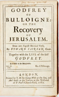 Books:Literature Pre-1900, Torquato Tasso. Godfrey Of Bulloigne: Or The Recovery OfJerusalem. Together with the Life of the said Godfrey....