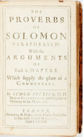 Books:Religion & Theology, [Bible, O.T.] Symon Patrick. The Proverbs of Solomon Paraphrased: With the Arguments of Each Chapter Which supply th...