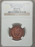 Argentina, Argentina: Republic Pattern Centavo in copper 1880-E MS64 Red andBrown NGC,...