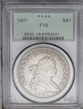 Early Dollars: , 1801 $1 Fine 15 PCGS. B-1, BB-211, R.3. Die State I; no trace ofthe die crack left of 1 is r...