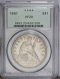 Seated Dollars: , 1850 $1 VF20 PCGS. This stone-gray example shows moderate wear, butfive letters in LIBERTY a...