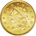 Classic Quarter Eagles: , 1834 $2 1/2 MS64 PCGS. McCloskey-A, Breen-6140, Large Head, R.3. The Large Head type displays prominent hair curls when com...