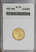 Classic Quarter Eagles: , 1837 $2 1/2 AU50 ANACS. McCloskey-B, R.3. The centers have a slightly weak strike, as is typically encountered, while the p...