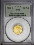 Classic Quarter Eagles: , 1839-O $2 1/2 XF40 PCGS. High Date, Wide Fraction, Breen-6152, McCloskey-A, R.3. A bold lemon-gold New Orleans piece with i...