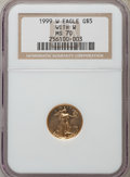 Modern Bullion Coins, 1999-W $5 Tenth-Ounce Gold Eagle, Unfinished Proof Dies, FS-401, MS70 NGC....